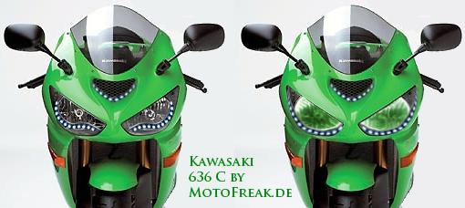 kawasaki zx6r c mit led und angeleyes motofreak biker. Black Bedroom Furniture Sets. Home Design Ideas